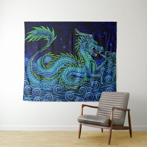 Chinese Azure Dragon Wall Tapestry