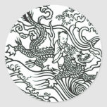 Chinese Baby Riding Dragon - Good Luck Charm Classic Round Sticker