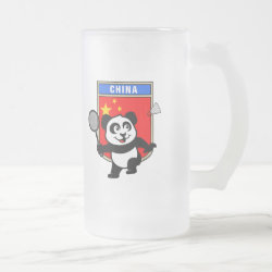Frosted Glass Mug with Chinese Badminton Panda design