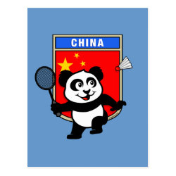 Postcard with Chinese Badminton Panda design