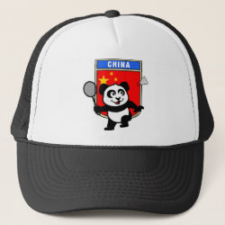 Trucker Hat with Chinese Badminton Panda design