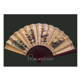 Chinese bamboo and silk fan wedding reception card business card