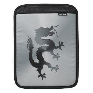 Chinese banner dragon engraved on brushed metal iPad sleeve
