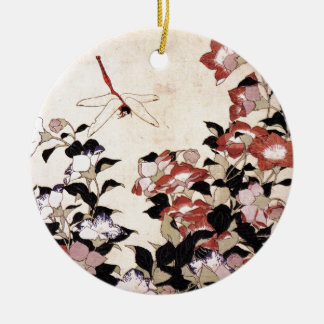 Chinese Bell Flower and Dragonfly Ceramic Ornament
