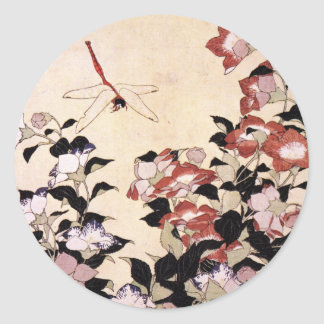 Chinese Bell Flower and Dragonfly Classic Round Sticker