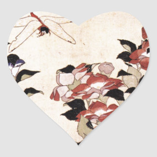 Chinese Bell Flower and Dragonfly Heart Sticker
