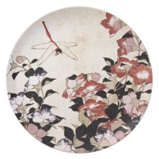 Chinese Bell Flower and Dragonfly Party Plate