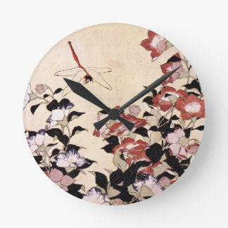 Chinese Bell Flower and Dragonfly Round Clock