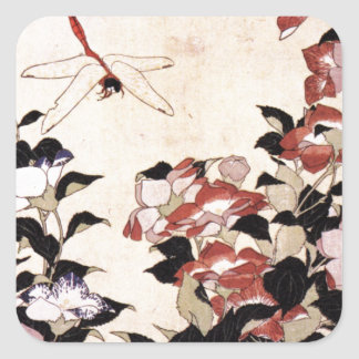 Chinese Bell Flower and Dragonfly Square Sticker