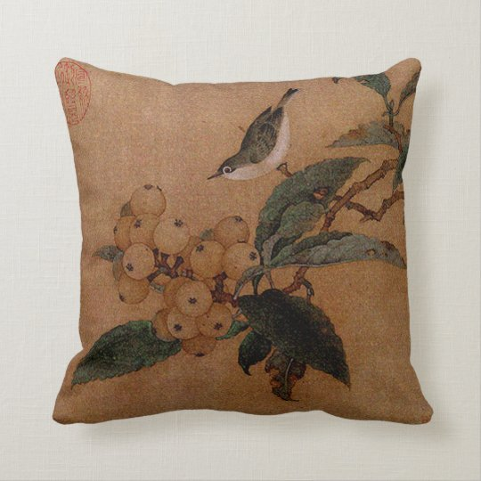 Chinese bird and loquat fruits throw pillow