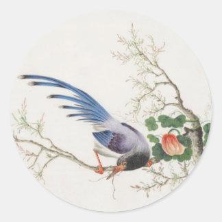 Chinese Bird Painting Classic Round Sticker