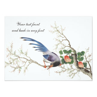 Chinese Bird Painting 5.5x7.5 Paper Invitation Card