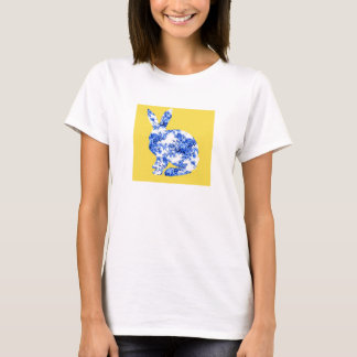 Chinese Blue and White Porcelain Pattern Rabbit T-Shirt