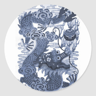 Chinese Blue Dragon - Emperor Water Dragon 2012 Round Stickers