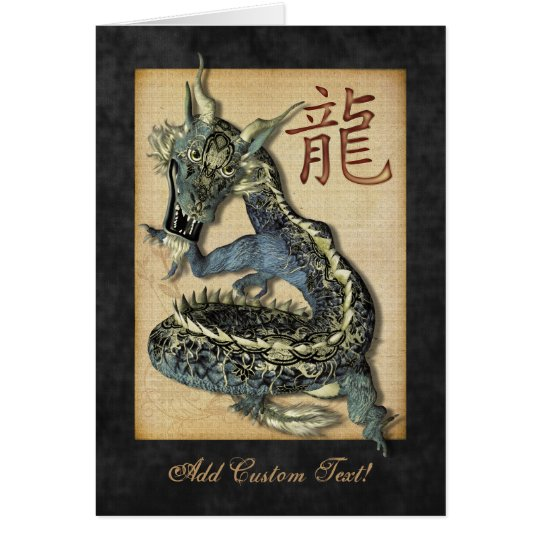 Chinese Blue Dragon Greetings & Notecards Card