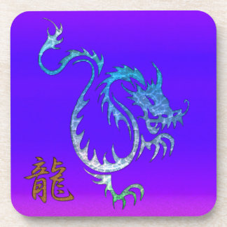 Chinese Blue Dragon on Purple Drink Coasters