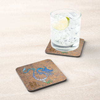 Chinese Blue Dragon on Rusted-look Drink Coasters