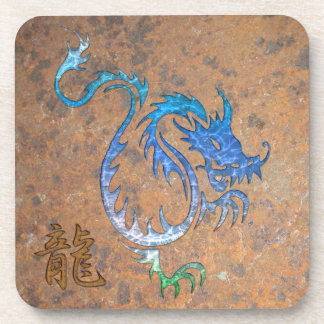 Chinese Blue Dragon Rust-look Cork-backed Coasters