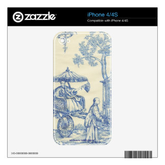 Chinese Blue Toile iPhone 4S Decals