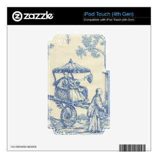 Chinese Blue Toile iPod Touch 4G Decals