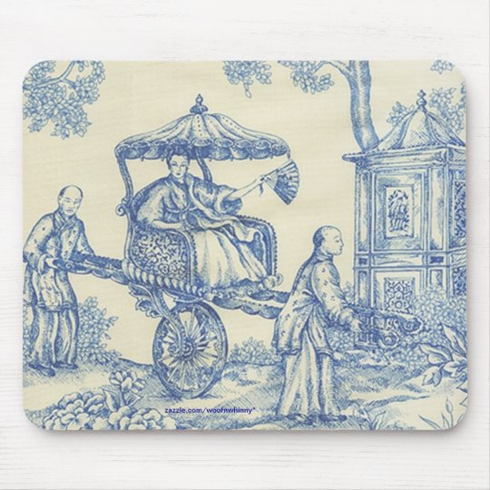 Chinese Blue Toile Mouse Pad