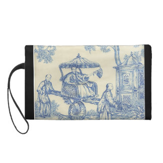 Chinese Blue Toile Wristlet Purse