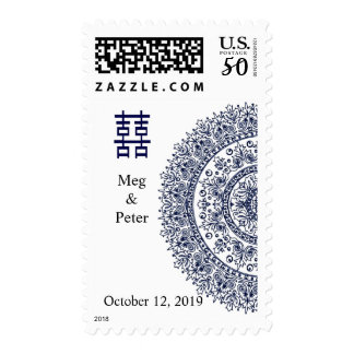 Chinese Blue White Porcelain Double Happiness Postage
