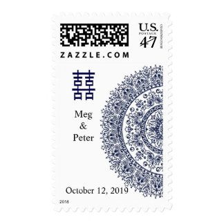 Chinese Blue White Porcelain Double Happiness Stamp
