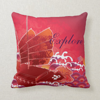 Chinese Boat & Ocean Explore Pillow