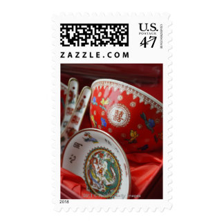 Chinese bowl with double happiness postage