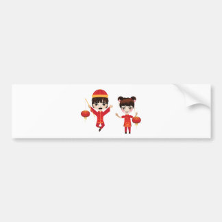 Chinese Boy and Girl Bumper Sticker