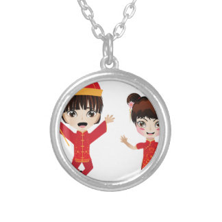Chinese Boy and Girl Silver Plated Necklace