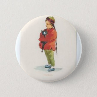 Chinese Boy and Playmate Pinback Button