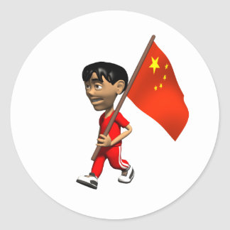 Chinese Boy Classic Round Sticker