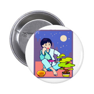 Chinese Boy Pondering Bonsai Pinback Button