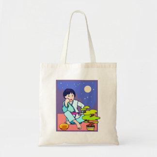 Chinese Boy Pondering Bonsai Tote Bag