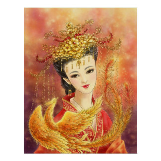 Chinese Bride with Phoenix Fantasy Art Poster