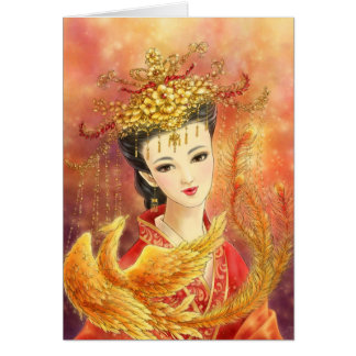 Chinese Bride with Phoenix Fantasy Greeting Card