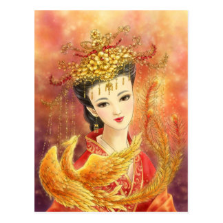 Chinese Bride with Phoenix Fantasy Postcard