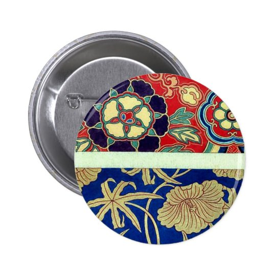 Chinese brocade with red background pinback button