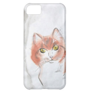 Chinese Brush Art Red Tabby Cat Case For iPhone 5C