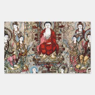 CHINESE BUDDHA PAINTING RECTANGULAR STICKER