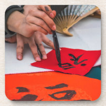 Chinese Calligraphy hard plastic coasters