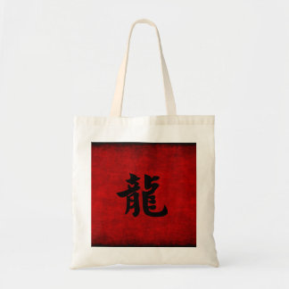Chinese Calligraphy Symbol for Dragon in Red Tote Bag