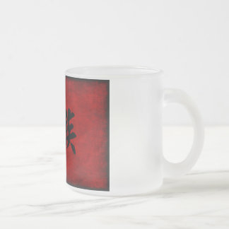 Chinese Calligraphy Symbol for Family in Red Frosted Glass Coffee Mug