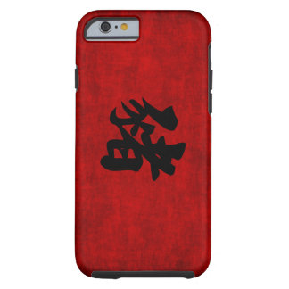 Chinese Calligraphy Symbol for Pig in Red Tough iPhone 6 Case