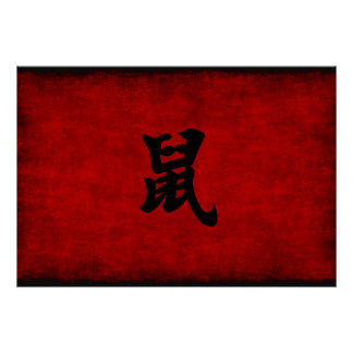 Chinese Calligraphy Symbol for Rat in Red Poster