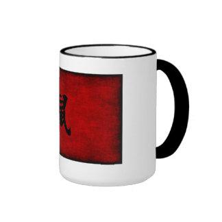 Chinese Calligraphy Symbol for Rat in Red Ringer Mug