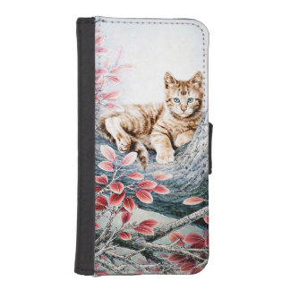 Chinese Cat Art Cat in Tree iPhone 5 Wallet Case