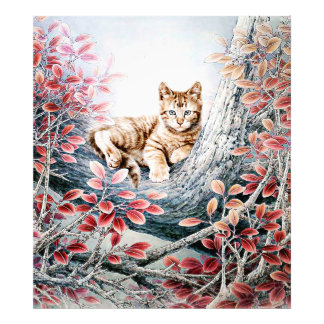 Chinese Cat Art Cat in Tree Photograph
